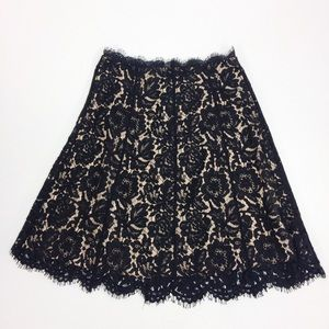 Everly Black Lace Overlay Skirt Tan/Nude Base